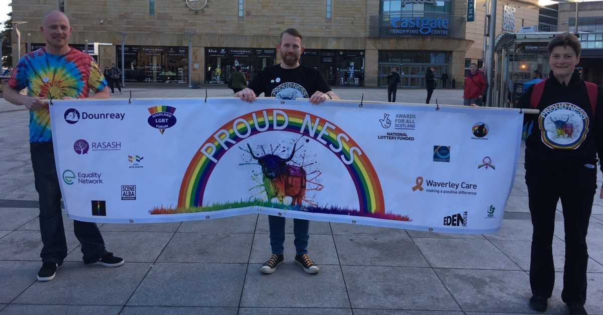 Proud Ness organisers pose with the official banner ahead of the event on October 6, 2018 (Highland LGBT Forum/Twitter)