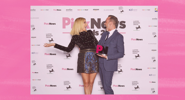 Stacey Solomon and Daniel Brocklebank celebrate at last year's awards