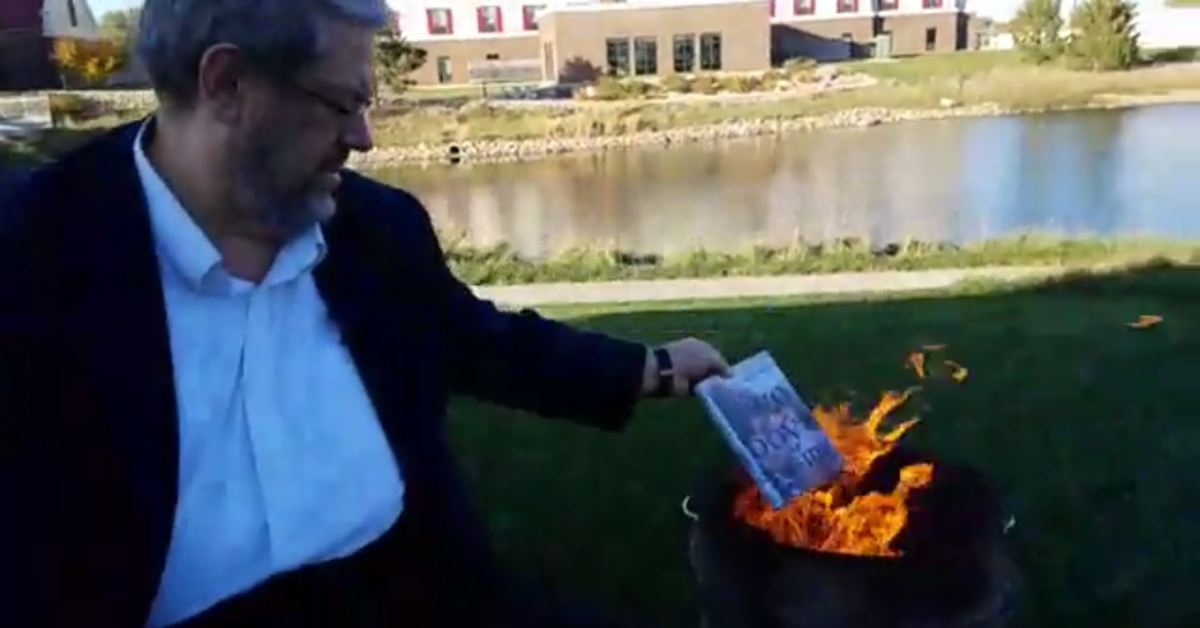 Man films himself burning LGBT children's books from local library