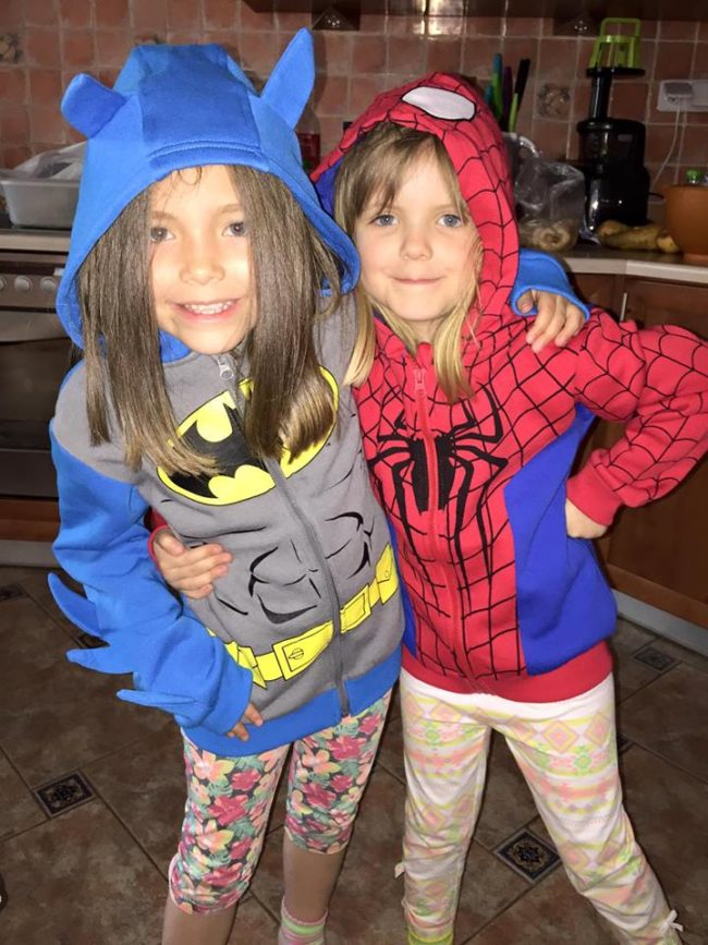 Maya dressed up as Batman while Lily put on a Spiderman costume.