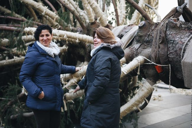 Shirley Figueroa and Lissette Gutierrez accompanied Shelby, the Rockefeller Center tree of choice for 2018, on her journey to Manhattan.