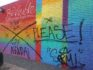 Thugs graffitied over the Be Visible Pride Wall in Houston, Texas. (Pride Portraits/Facebook)
