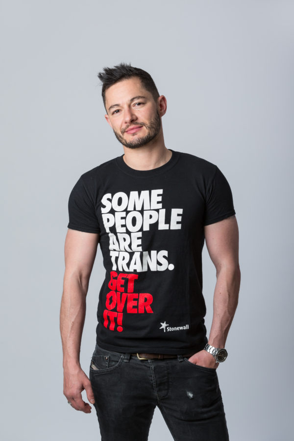 Transgender rights activist Jake Graf in a Stonewall t-shirt