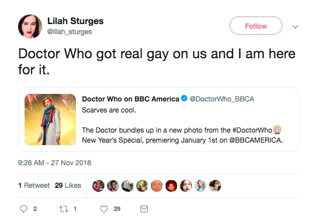 """A Twitter user says Doctor Who has got """"real gay"""" after Jodie Whittaker's character was photographed in a rainbow scarf"""