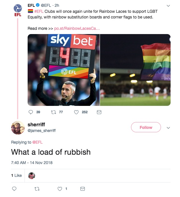 EFL announces LGBT+ inclusivity initiative on Twitter