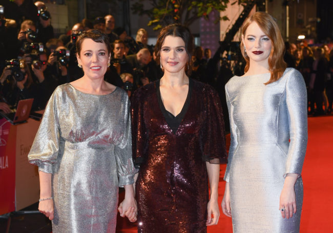 Olivia Colman, Rachel Weisz and Emma Stone all star in The Favourite, which has received rave reviews so far