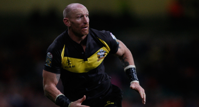Gareth Thomas playing for the Crusaders against Salford City Reds on February 13, 2011 in Cardiff, Wales.  (Stu Forster/Getty Images)