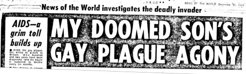 A News of the World headline on AIDS, re-used for World AIDS Day