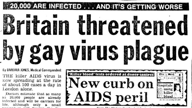 A headline from The Mail on Sunday, re-published for World AIDS Day