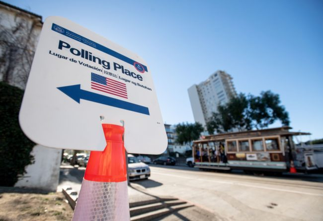 A polling station during the US midterm election 2018