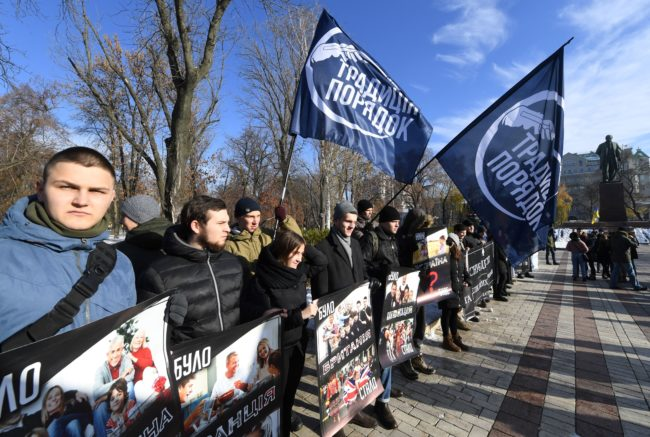 Far-right militants protest the trans rights rally in Ukraine.