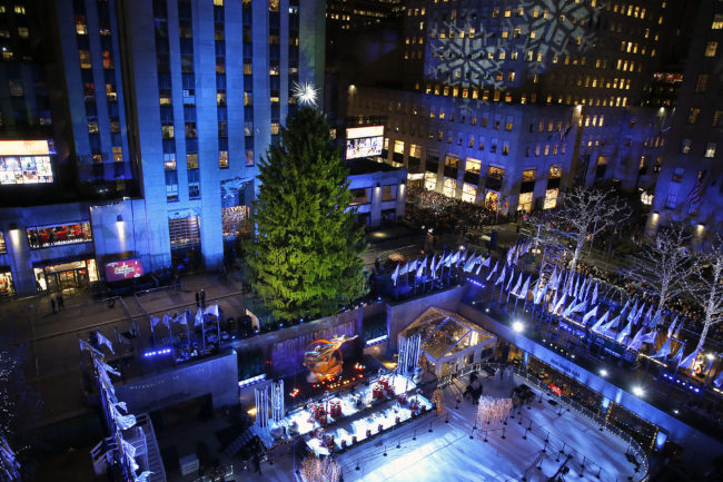 View of the Christmas tree before 86th Annual Rockefeller Center Tree Lighting Ceremony .