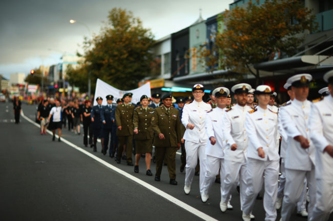 Members of the armed forces take part in Auckland Pride Parade 2014.