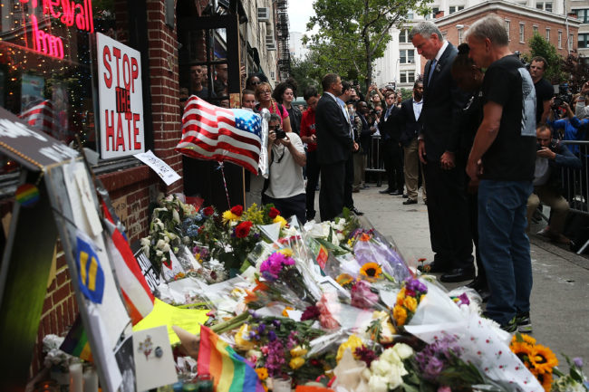 A vigil for victims of the Pulse shooting was held outside New York's Stonewall Inn, one of the city's most famous gay bars.