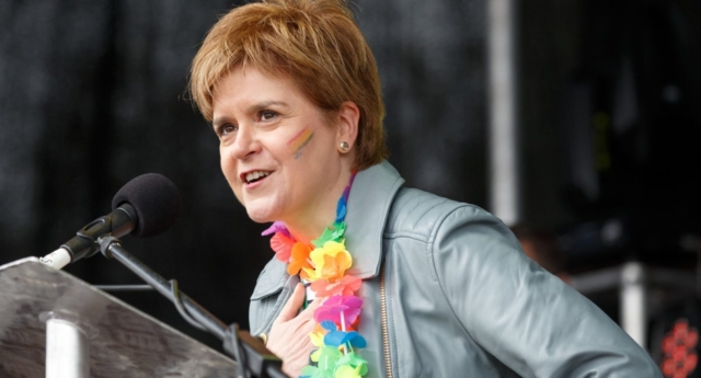 First Minister Nicola Sturgeon addresses the assembled crowd at Glasgow Pride on August 19, 2017 in Glasgow, Scotland. (Robert Perry/Getty)