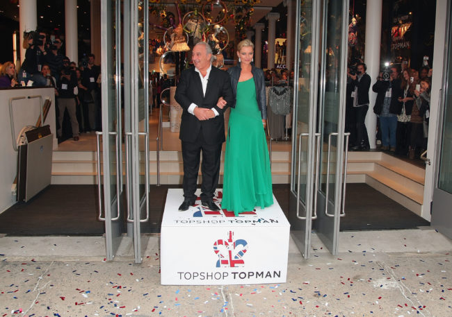 Sir Philip Green and Kate Moss at a Topshop Topman opening in New York City in 2009. (Andrew H. Walker/Getty)
