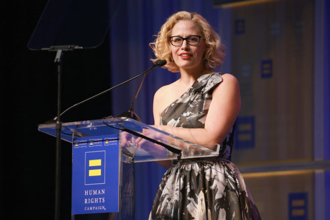 Bisexual politician Kyrsten Sinema speaks at the Human Rights Campaign 2018 gala dinner