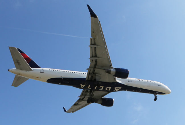A Delta Airlines plane lands in LA.