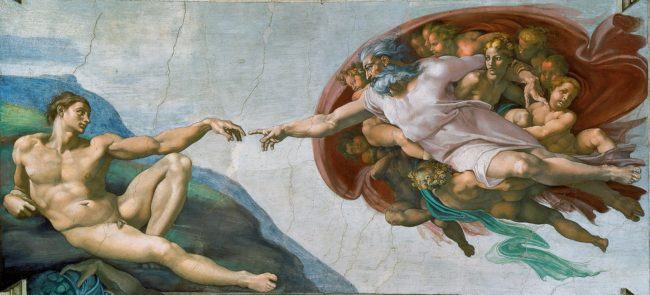 The Creation of Adam, by Michelangelo, shows God as a man