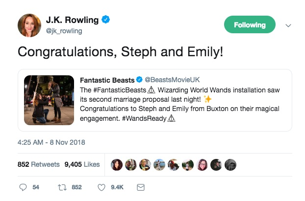 JK Rowling congratulates a lesbian couple on their Harry Potter engagement