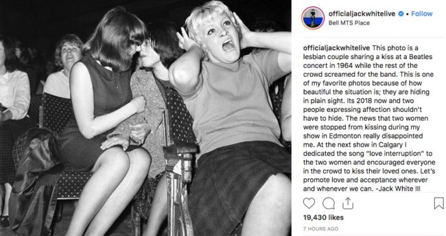Jack White calls out homophobia at gig on Instagram.