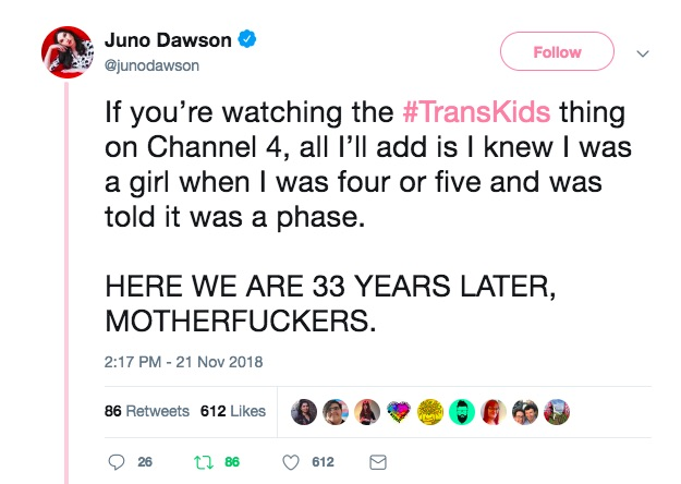 Juno Dawson's tweet about Channel 4's Trans Kids: It's Time to Talk