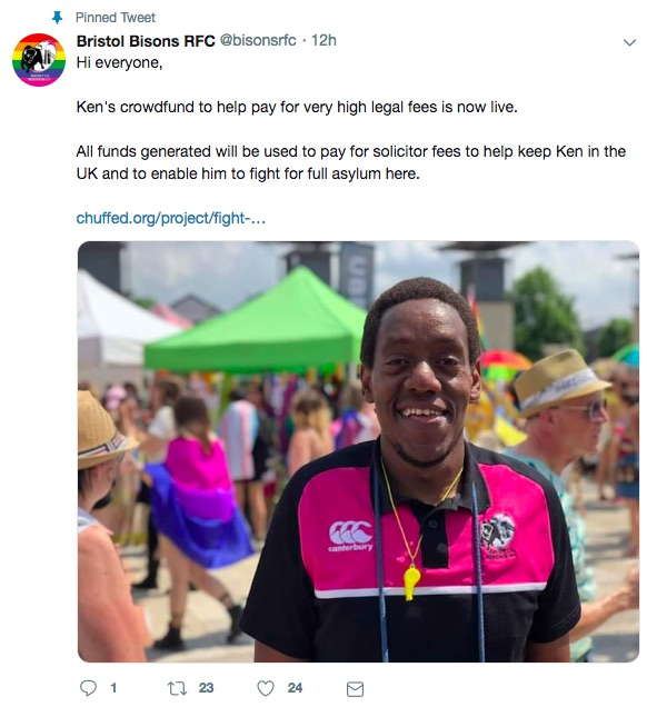 Bristol Bisons supporting their gay teammate Ken Macharia on Twitter, who is being threatened with removal from the UK to Kenya