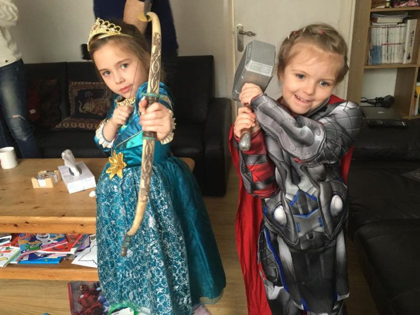 Lily (R) dressed as Thor while her sister Maya (L) went for Brave's Merida. (Courtesy of Peter Jones)