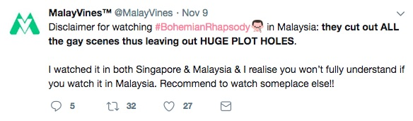 """A Twitter user complaining that gay scenes have been cut from Queen biopic """"Bohemian Rhapsody"""""""