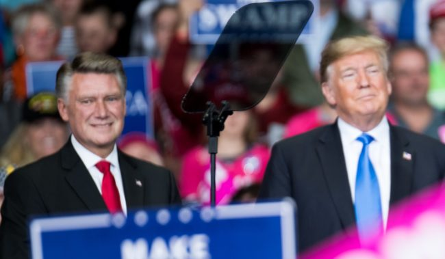 President Donald Trump and Republican Congressional candidate for North Carolina's 9th district Mark Harris
