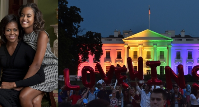 Michelle Obama and daughter Malia Obama escaped the White House as crowds gathered to celebrate equal marriage (Annie Leibovitz/White House via Getty)