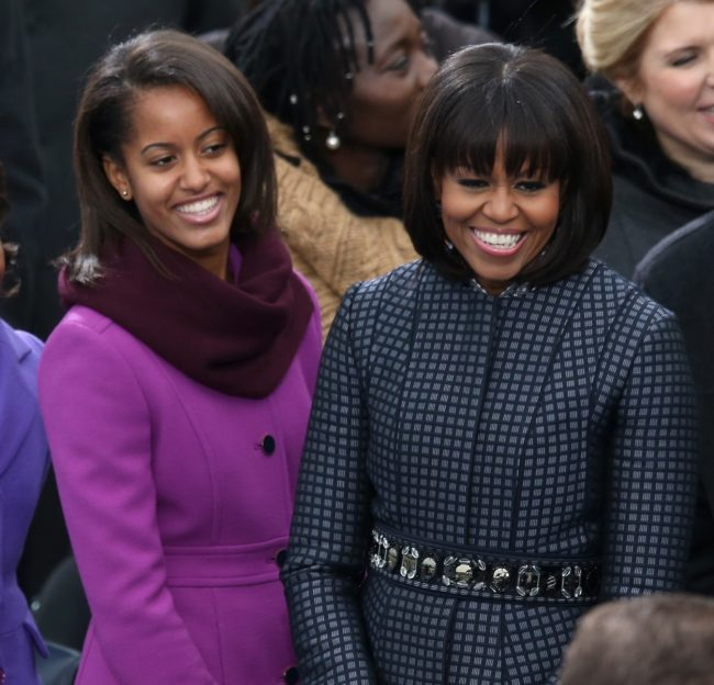 First lady Michelle Obama and daughter Malia Obama at the second inauguration of President Obama