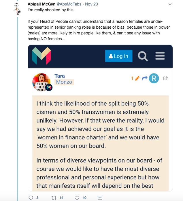 A post on Twitter to protest against Monzo's policy to address gender imbalance