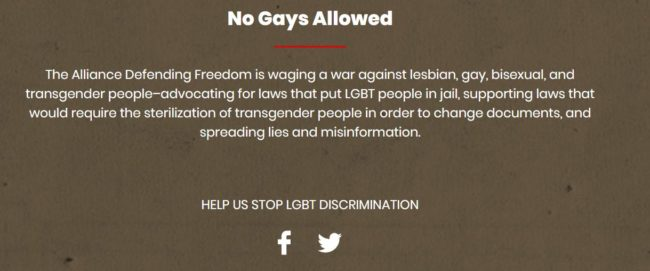 The No Gays Allowed website