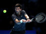 Novak Djokovic of Serbia plays a backhand during his singles final against Alexander Zverev of Germany during Day Eight of the Nitto ATP Finals at The O2 Arena on November 18, 2018 in London, England.  (Julian Finney/Getty)