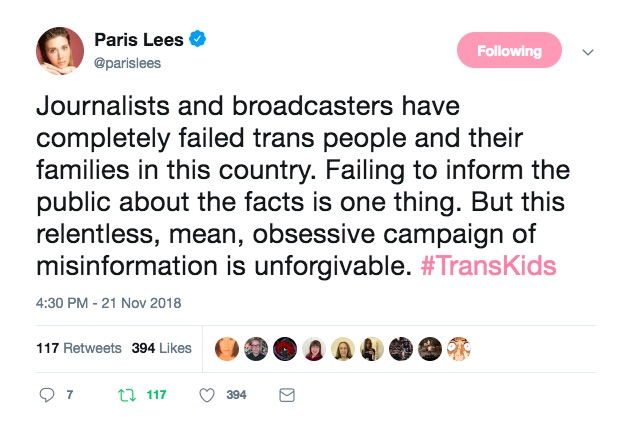 Paris Lees chastised the Channel 4's Trans Kids: It's time to Talk on Twitter
