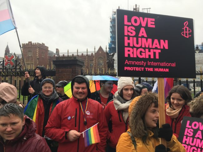 Northern Ireland equal marriage: Protesters target UK Prime Minister Theresa May