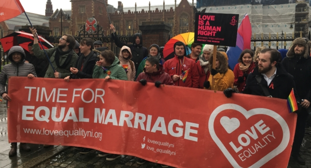 Members of Love Equality staged a protest outside Theresa May's speech at Queen's University Belfast on November 27 (Courtesy Love Equality)