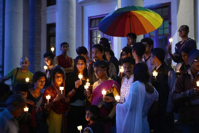 Transgender people take part in a candle light vigil for the Transgender Day of Remembrance in Bangalore on November 20, 2015.