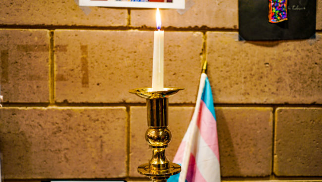 A candle mourns transgender victims of violence like Tydie, whose death Baltimore Police is investigating as a homicide.
