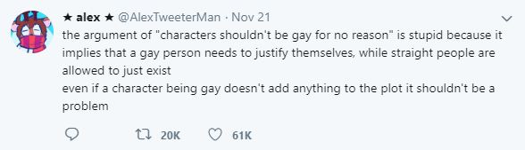 Twitter user hits out at lack of gay characters in popular media