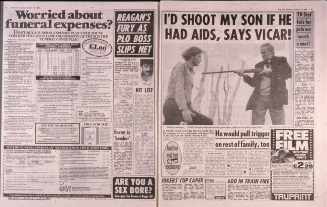 The Sun's coverage of AIDS in the 1980s used in an article on World AIDS Day