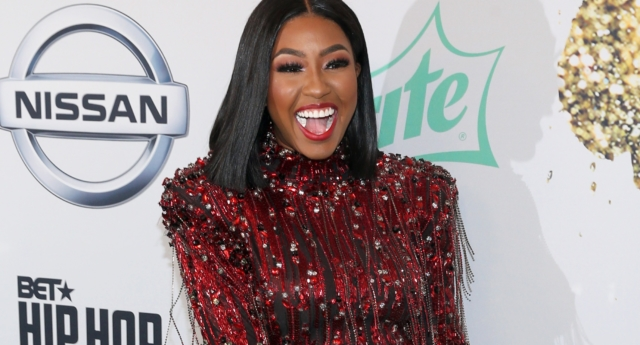 Rapper Yung Miami of the City Girls arrives at the BET Hip Hop Awards 2018 at Fillmore Miami Beach on October 6, 2018. (Bennett Raglin/Getty for BET)
