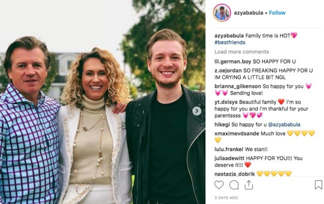 Azya Babula posted about his parents on Instagram, who accept him for being gay