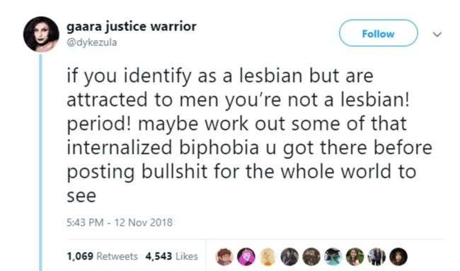 A tweet which is insistent on the definition of 'lesbian'