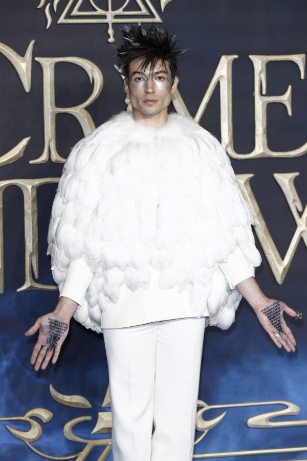 Ezra Miller attends the UK premiere of Fantastic Beasts: The Crimes Of Grindelwald at Cineworld Leicester Square on November 13, 2018