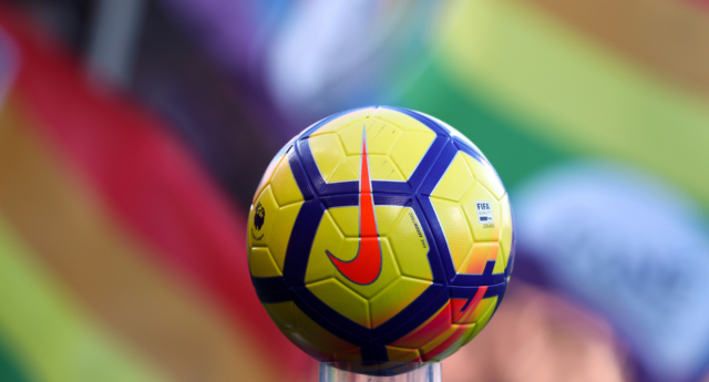 The Nike match ball infront of rainbow flags during the Premier League match between AFC Bournemouth and Newcastle United at Vitality Stadium on February 24, 2018. (Catherine Ivill/Getty)