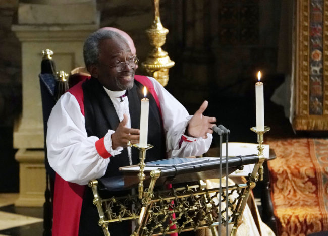Episcopal Church leader Bishop Michael Curry gives a sermon at Meghan Markle and Prince Harry's royal wedding
