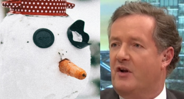 Piers Morgan and an anthropomorphic snow creation (itv and pexels)