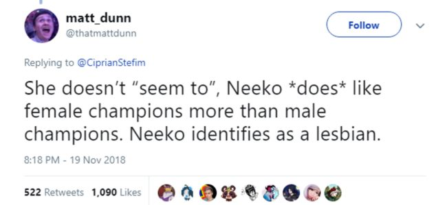 League of Legends writer Matt Dunn confirms Neeko is a lesbian
